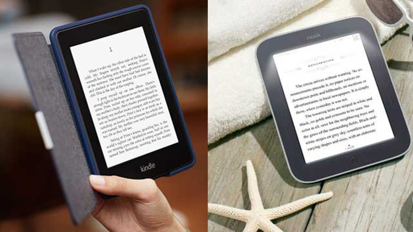 Kindle Paperwhite (izq.) o Nook Simple Touch GlowLight.
