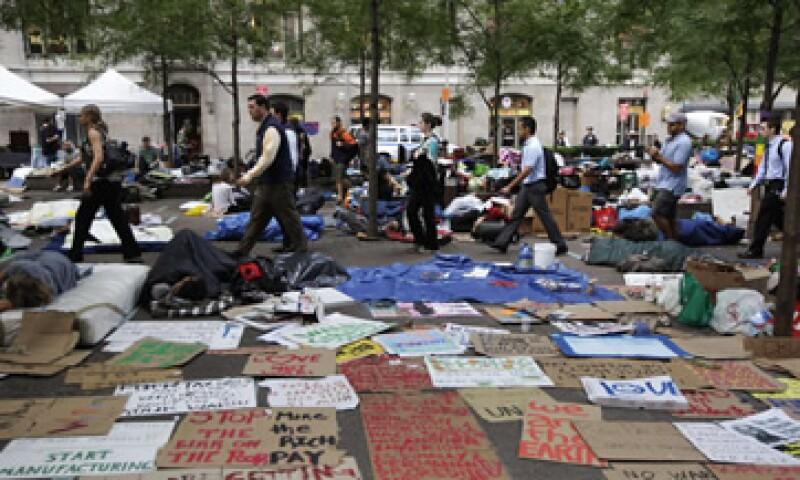 La manifestación era en principio contra el sistema financiero en EU, pero ha mutado en un movimiento más grande. (Foto: Reuters)