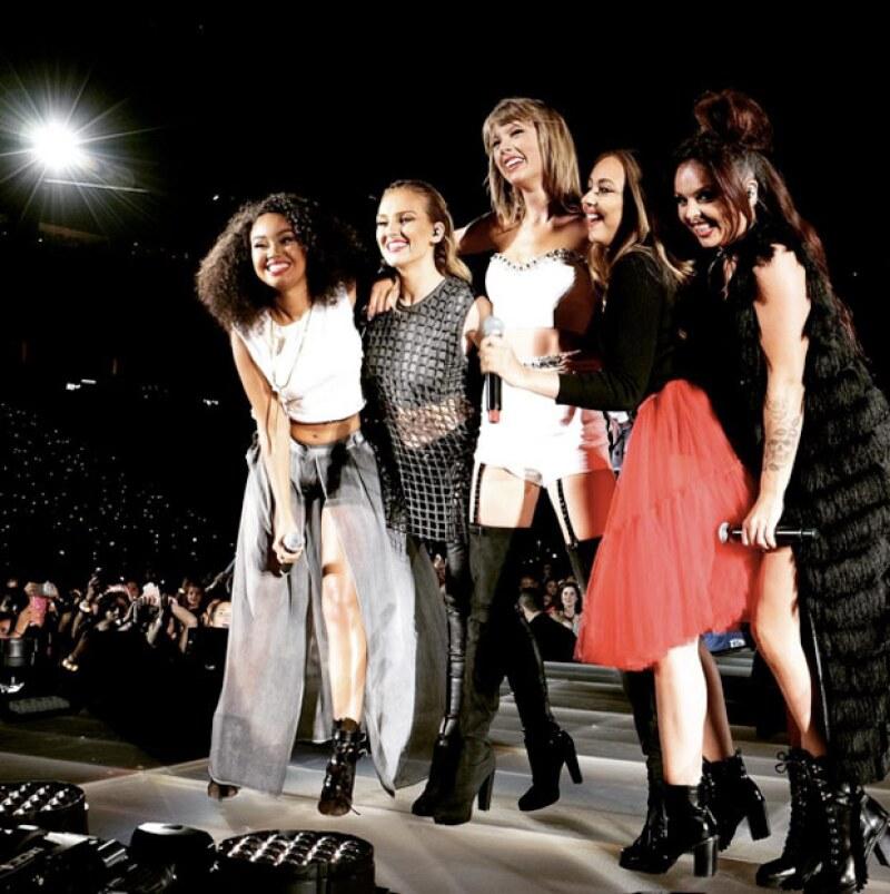 Durante el concierto que ofreció Taylor en Santa Clara, California, invitó al par de celebs a disfrutar el show desde el escenario.
