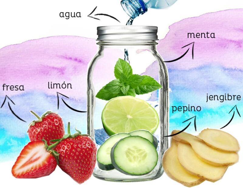 Infusión de pepino, limón y menta.