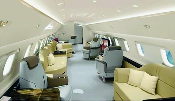 Éstos son los interiores estándar que ofrece la compañía Embraer, pero Jorge Vergara dio sus propias especificaciones.