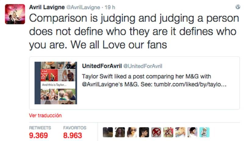 Este fue el primer tuit con el que Avril reaccionara a la comparación que hicieron entre el trato que ella tiene con sus fans, y el de Taylor.