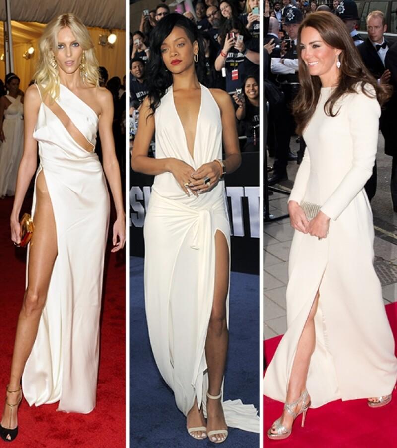 Esta semana varias famosas vistieron en una constante vestidos blancos con abertura en la pierna.