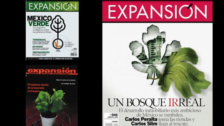"""La ecología es prioritaria para Expansión, pero no todas las portadas en que predomina el verde se centran en ella, como la de arriba a la izquierda, de agosto de 2007. La de debajo, de 1983, trató """"el espinoso asunto de la inversión extranjera"""" y la de l"""