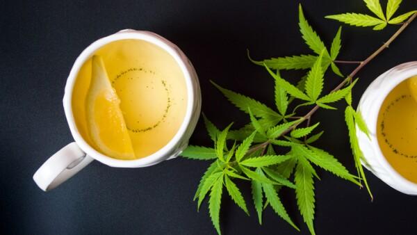 Cannabis tea with marijuana leaves and lemon
