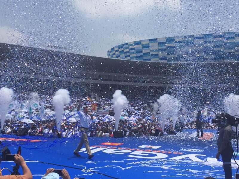 El estadio Hermanos Serdán no se llenó completamente durante el evento del panista.