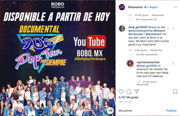 Instagram del show 90's Pop Tour