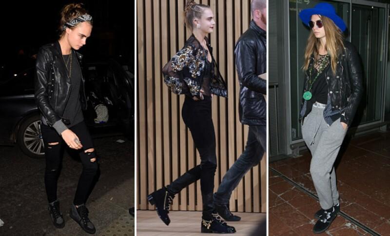 Cara siempre impone su toque rebel y fashion sin necesidad de usar tacones.
