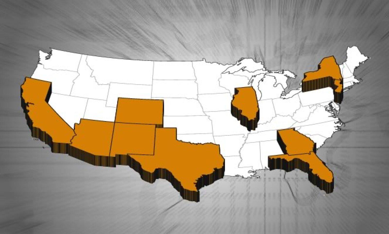 Los estados clave son: California, Florida, Texas, NY, Illinois, Arizona, Nevada, Nuevo México.