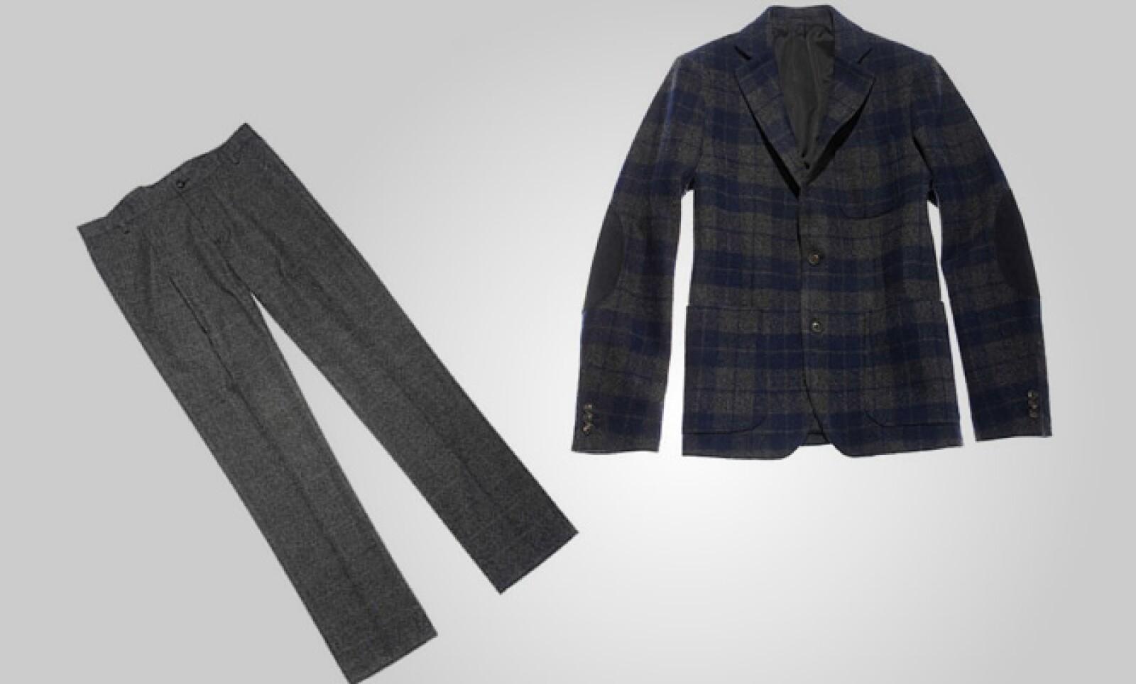 Una opción formal para la última fiesta del año puede ser éste saco de cuadros y pantalón de lana.