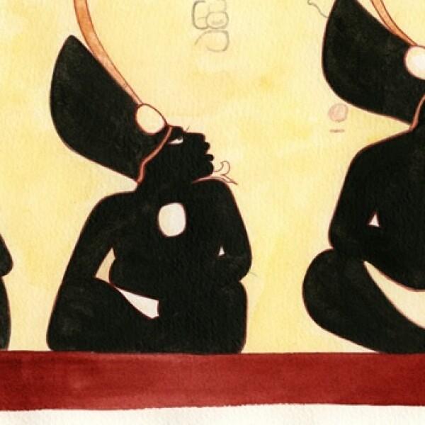pintura realizada por heather hurst que recrea figuras mayas