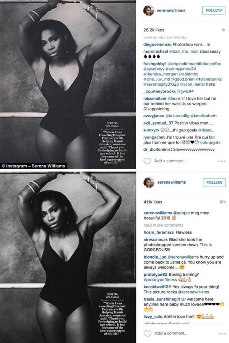 Daily Mail logró captar la primera foto (la retocada) y la segunda que compartió corrigiendo su error de Photoshop.