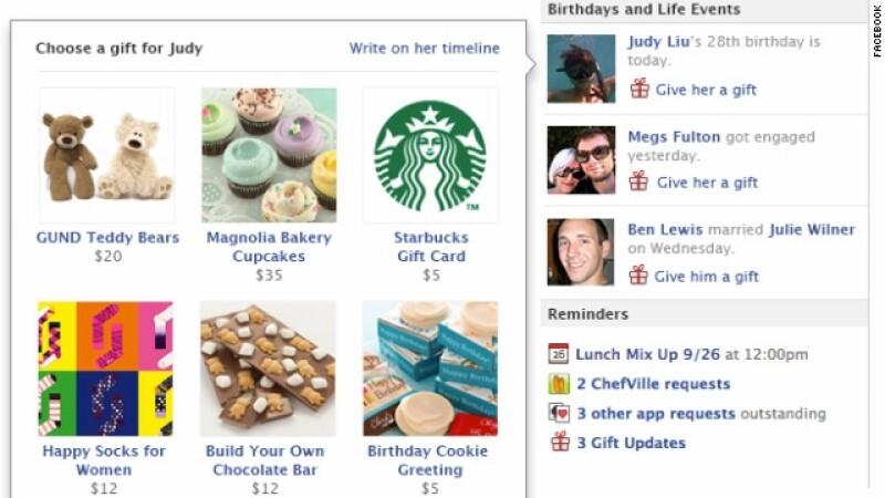 facebook enviará regalos