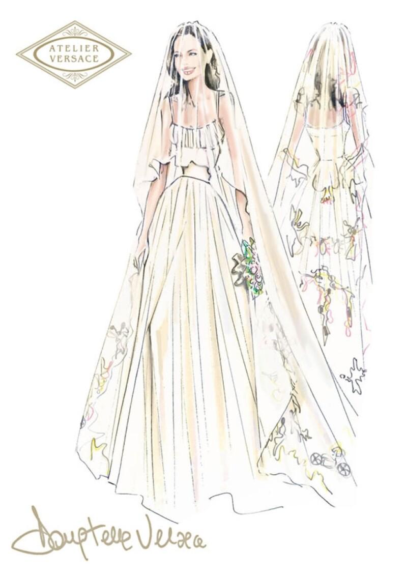 Se trató de un diseño de Atelier Versace pero muy original pues en la falda y el velo tenía bordados coloridos dibujos de sus hijos.