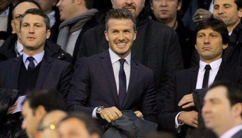 David Beckham viajó a España para presenciar el encuentro del Paris Saint-Germain contra el Valencia.
