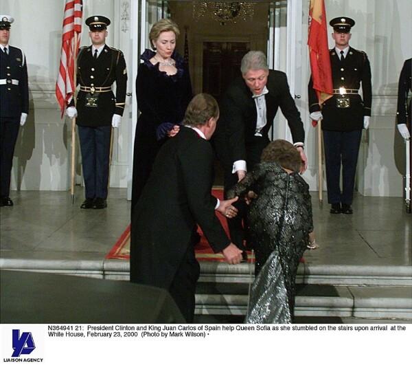Hillary Clinton, Bill Clinton, rey Juan Carlos y la reina Sofía