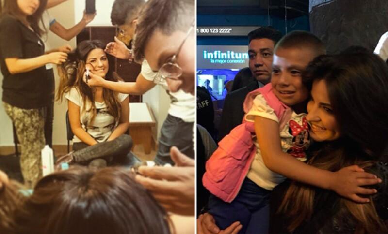 Maite Perroni además de convivir con algunos de los niños, también realizó una presentación durante el evento.