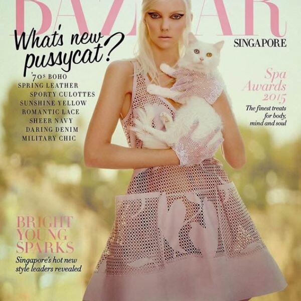 Heather Marks se ve increíble en la portada de Harpers Bazaar Singapur, retratada por Yu Tsai.