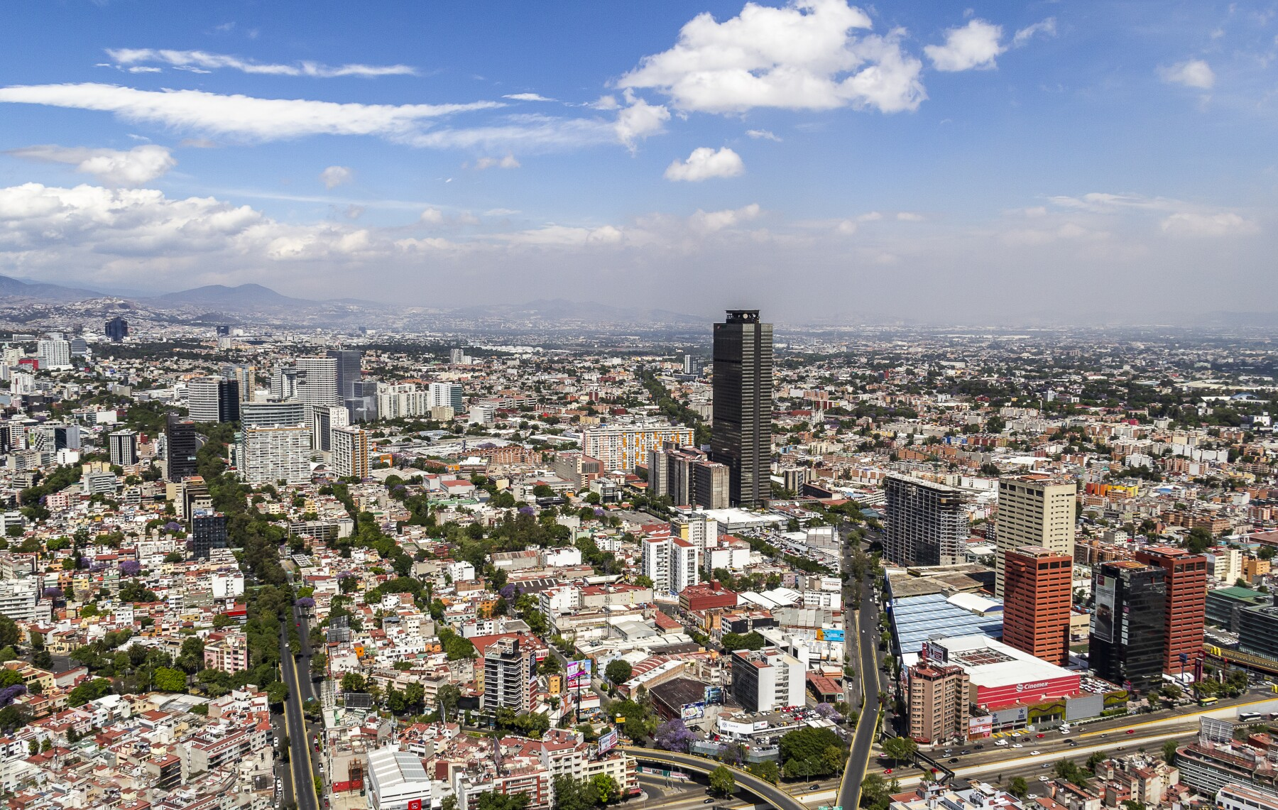Aerial view of Mexico City over western Anzures district