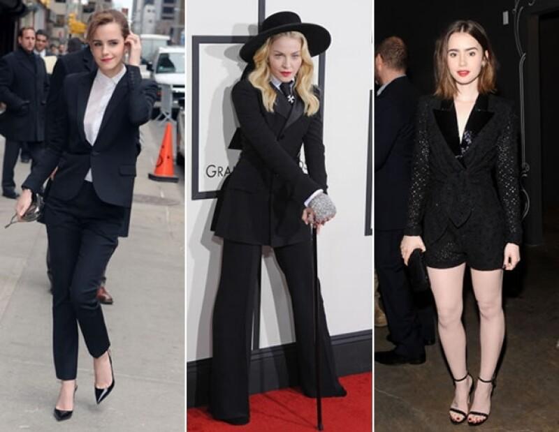 Madonna, Lily Collins y Emma Watson portan el look tuxedo en tres formas distintas, pero de manera increíble y única.