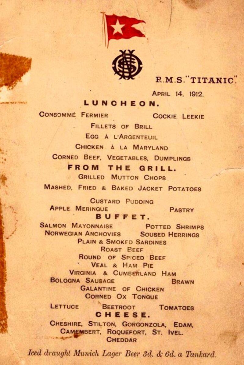Los menús desde la primera hasta la tercera clase han sido dados a conocer. Y no creerás lo que sirvieron justo antes de que el barco más famoso y enigmático del mundo se fuera a pique.