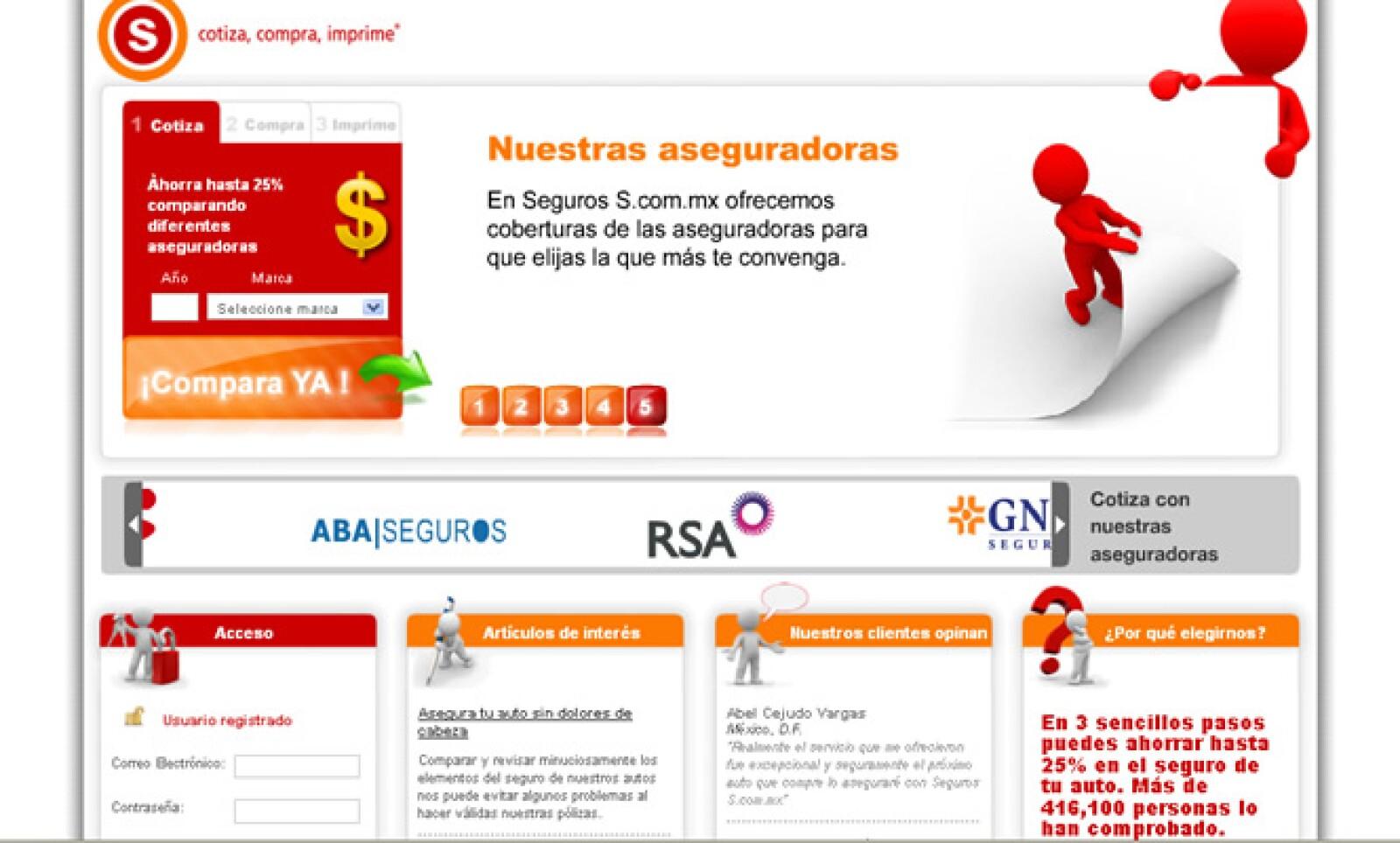La agencia aseguradora Seguros S es uno de los finalistas en la categoría 'Financiero', ya que permite realizar todo tipo de trámites relacionados con seguros automotrices a través de Internet.