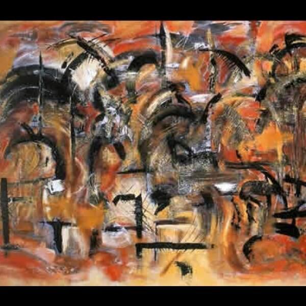 """El empresario reconoce como primeros coleccionistas a amigos como Alfredo y Vanesa Harp, Pepe y Marce Madariaga, y Manolo y Magda Torroella. """"La búsqueda"""", 2004, acrílico sobre tela, 1.50 x 2.20 m"""