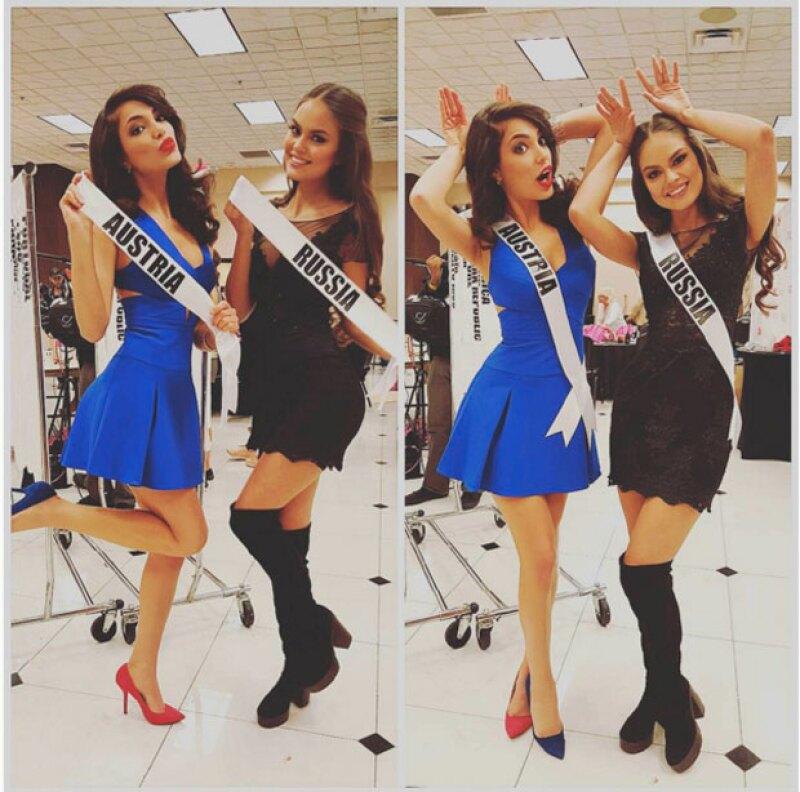 """""""Divirtiéndome con esta dulzura"""", compartió Amina, añadiendo los hashtags: """"El mejor momento de mi vida"""", """"Miss Universo Austria 2015"""" y """"Miss Universo Rusia 2015""""."""
