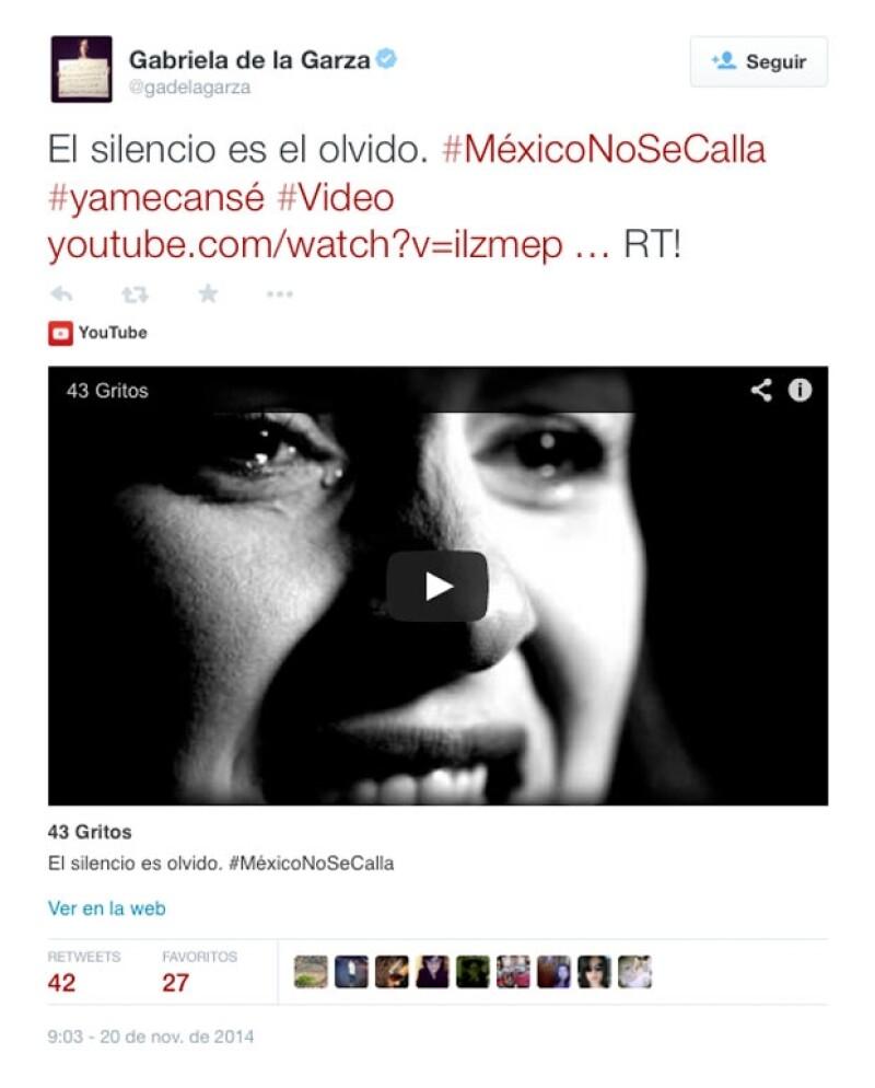 Gabriela de la Garza ha mostrado su inconformismo con varias publicaciones en su Twitter, por lo que a través del video invita a no callar.