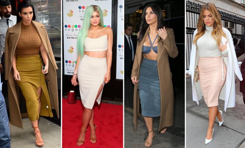 Pencil skirts o vestidos ceñidos a su figura son imperantes en el guardarropa de esta famosa familia.