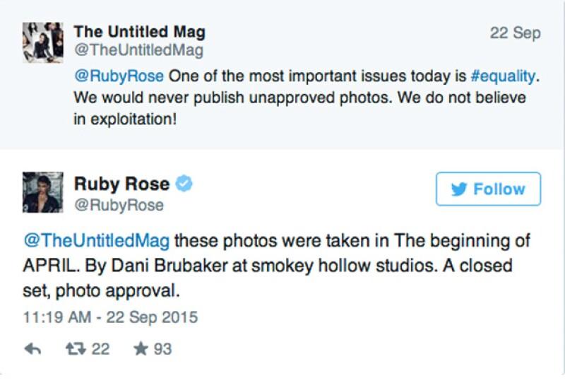 Untilted Magazine publicó una entrevista y una serie de fotos de la actriz, sin embargo ella no está contenta con la publicación de una foto en particular.