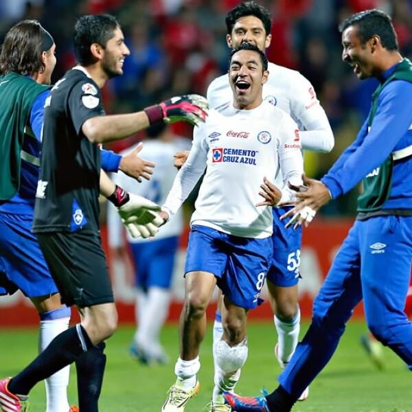 José de Jesús Corona (izquierda) se acerca a Guillermo Allison (derecha) para festejar el título