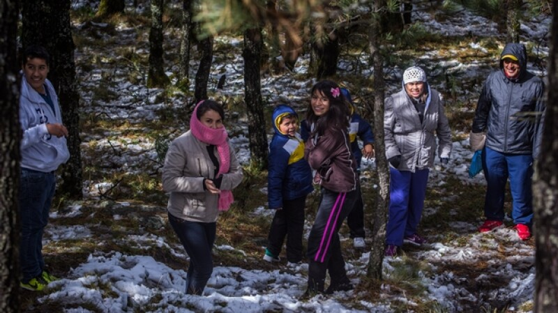 frío Ajusco nieve familia