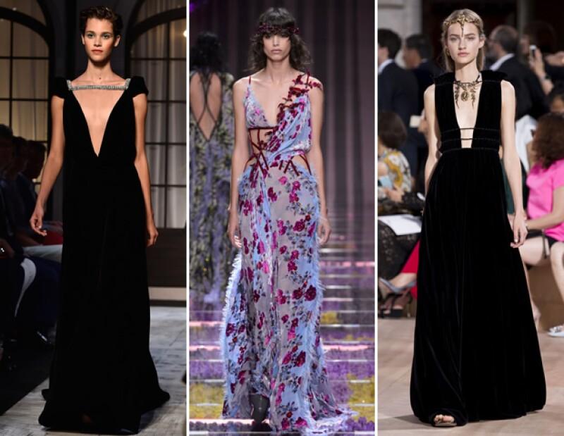Para otoño-invierno 2015, los vestidos deberán ser de terciopelo según las colecciones de Schiaparelli, Versace y Valentino.