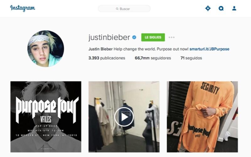 Instagram de Justin Bieber.