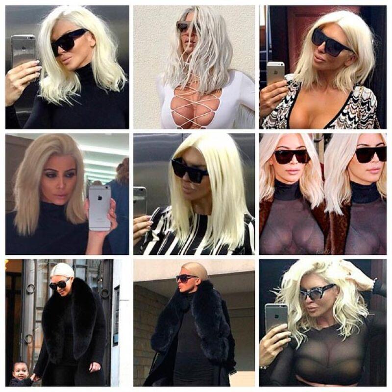 """Un collage hecho con fotos de Kim y de ella fue lo que publicó en su Instagram a manera de burla de la """"copia"""" del look de la socialité."""
