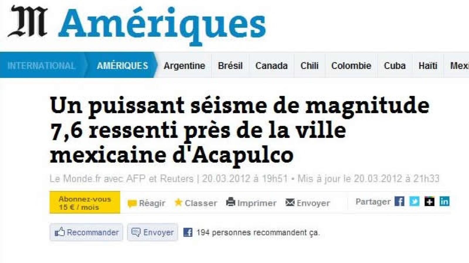 Portales temblor Le Monde