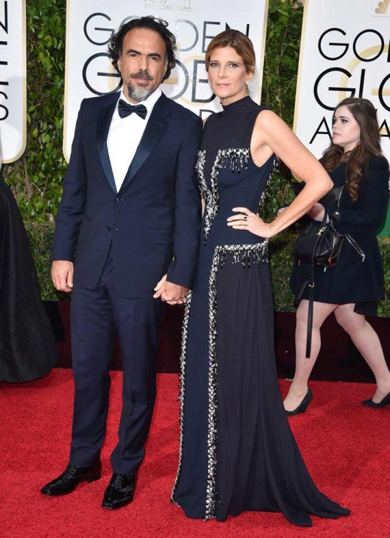 La película del director mexicano Alejandro González Iñárritu, quien aparece en esta imagen con su esposa María Eladia Hagerman, consiguió 12 nominaciones a los premios Oscar.