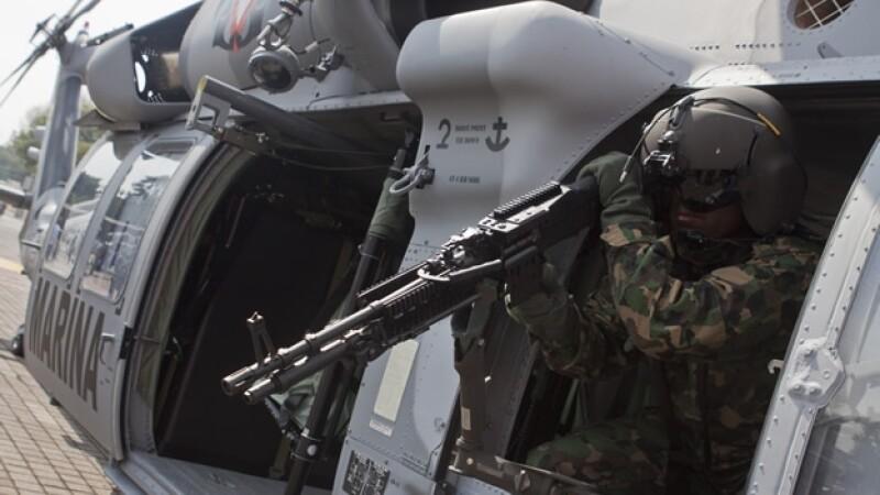 Uno de los helicópteros Black Hawk que el gobierno de México recibió de Estados Unidos como parte de la Iniciativa Mérida