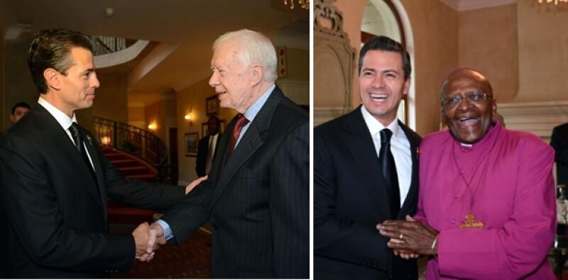 Con Jimmy Carter y Desmond Tutu, ambos ganadores del Nobel en 2002 y 1984 respectivamente.