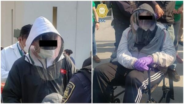 Con sudaderas y guantes, ambos hombres intentaron ocultar su verdadera identidad, sin embargo fueron detectados por una Servidora de la Nación al presentar una actitud sospechosa.