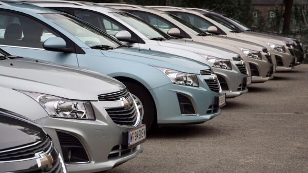 Chevrolet cars in a row