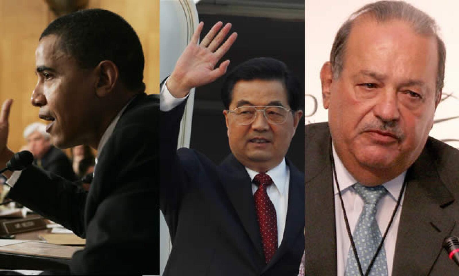 """En el ranking de """"Las personas más poderosas del mundo"""" de la revista Forbes, ocuparon los primeros lugares de la lista los líderes de Estados Unidos, Barack Obama, y China, Hu Jintao. El empresario Carlos Slim figuró en 6º lugar."""