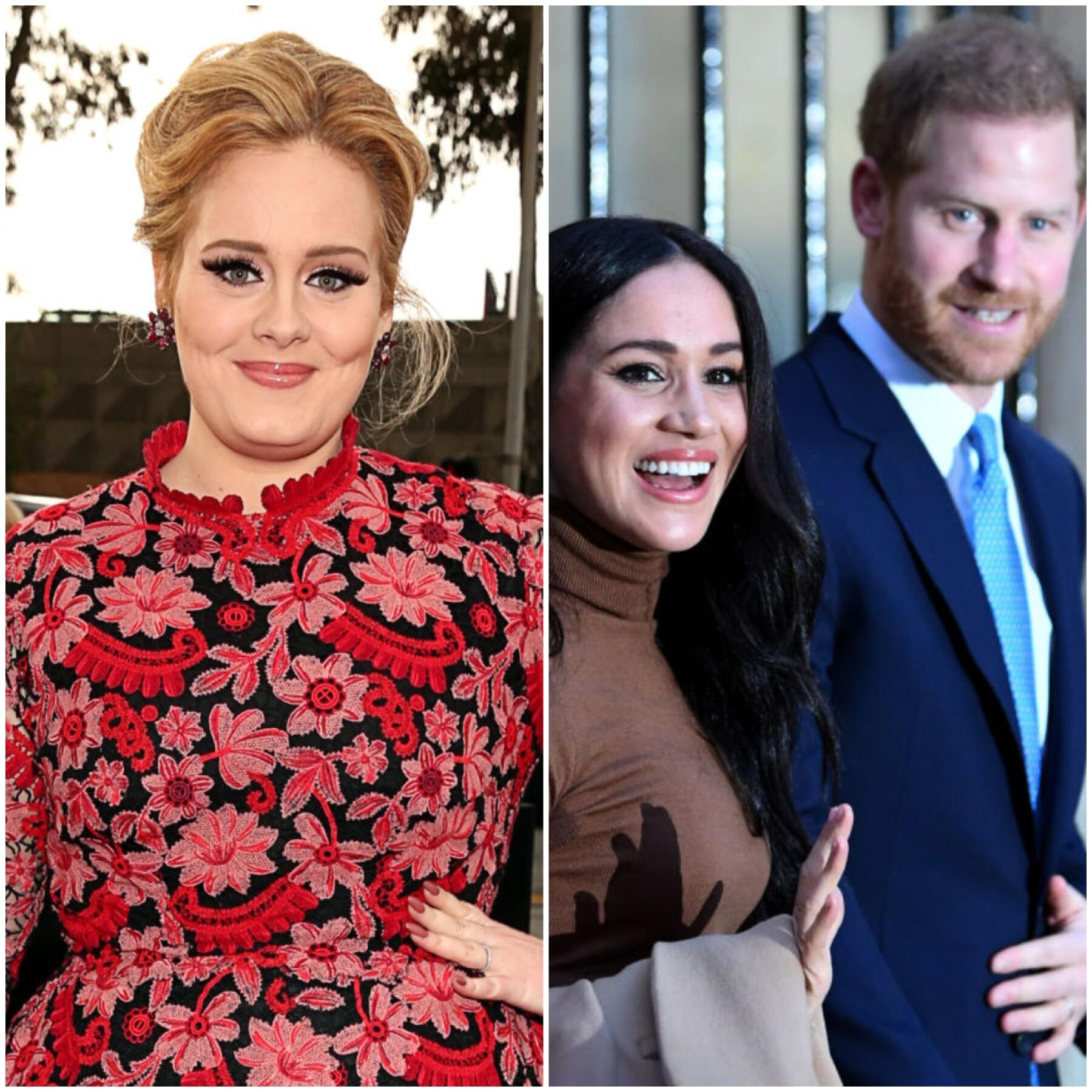 Adele,  Meghan Markle y Príncipe Harry