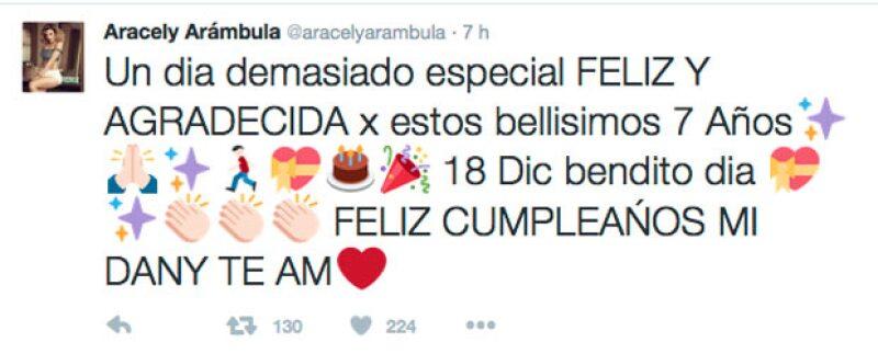 Con este tuit, Aracely felicitó a su hijo menor.