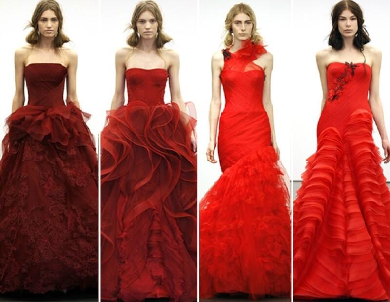 Un giro rojo, inspiraciones españolas, peplums y ricos materiales son algunas de las tendencias para novia para la próxima temporada estival.