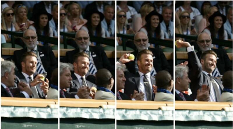 El futbolista británico logró captar las miradas de los asistentes en el partido de tenis gracias a una pelota que sin querer, atrapó.