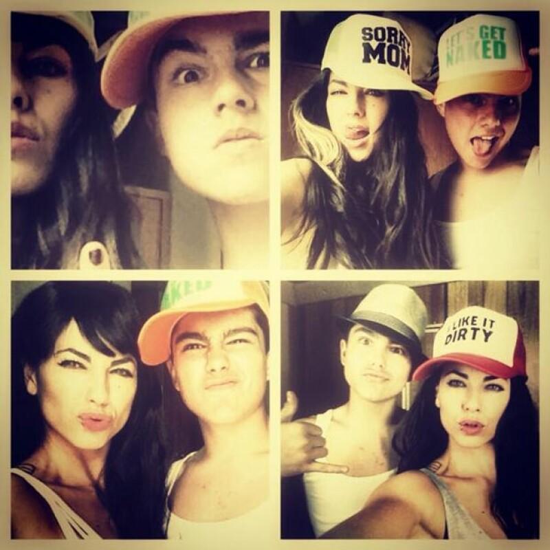 La actriz compartió en su cuenta de Twitter una foto de ella con su hijo Sergio de 15 años donde ambos aparecen con gorras estilo trailero.