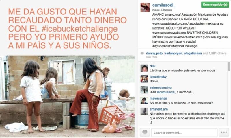 El post con la frase está en el Instagram de Camila, en el que también mencionó a muchas fundaciones que ayudan a niños en situaciones complicadas de salud.