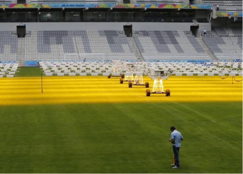 Pasto del estadio de Curitiba, Brasil